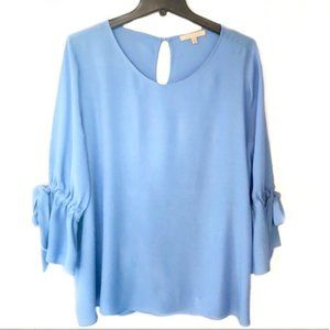 Gibson & Latimer Blue Tie Sleeve Blouse